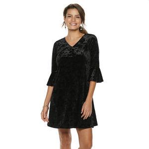 Black Velvet Bell Sleeve A-Line Dress Size S